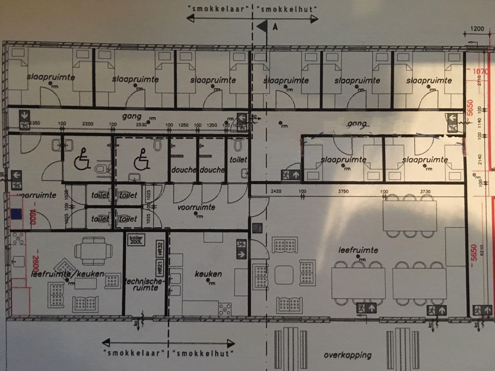 Plan  Akkommodation der Schmuggelhütte und Smokkelaar